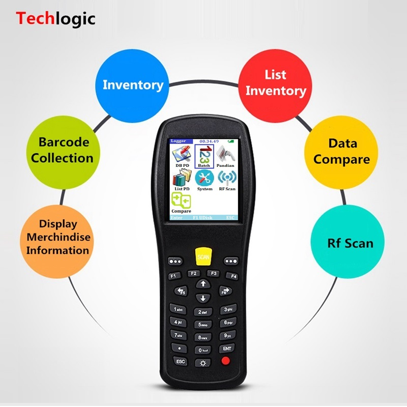 Techlogic X5 Wireless Barcode Scanner PDA Laser Light Bar Code Reader Portable Inventory Bar Code Scanner Bar Gun 16M Memory