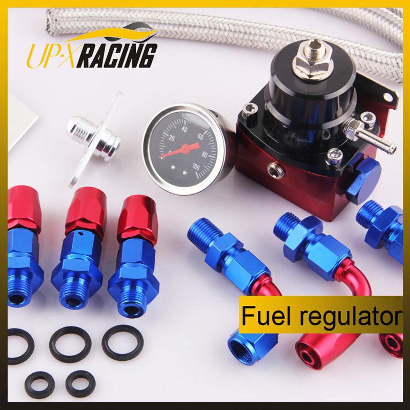 Adjustable universal fuel pressure regulator FRP with pressure gauge 6AN hose oil hose End fitting adapter
