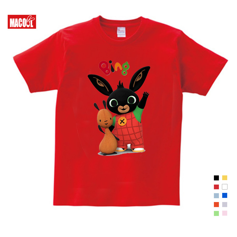 Lovely Cotton Print Bing Rabbit Bunny Children Funny T Shirt Kids Short Sleeve Summer Tops Baby Boys Girls Clothes Snug 3 15yrs in T Shirts from Mother Kids