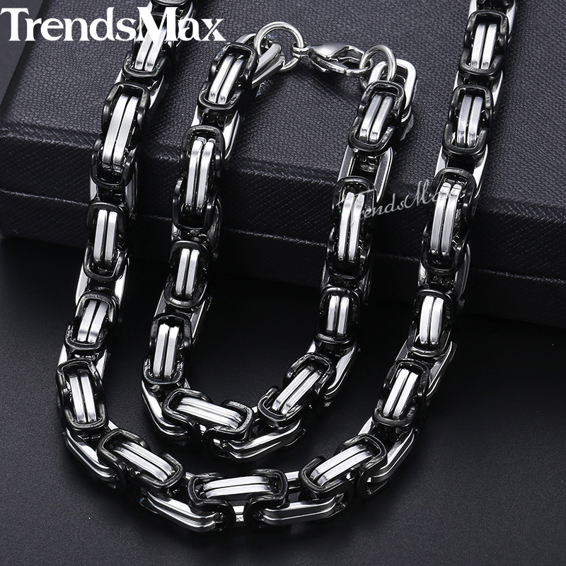 Men Jewelry Sets Stainless Steel Bracelet Necklace Set For Men Black Silver Byzantine Box Chain Wholesale Jewelry 2018 8mm KKS04 thick gold chain set wholesale men s jewelry white black crystal buckle necklace bracelet stainless steel jewelry sets