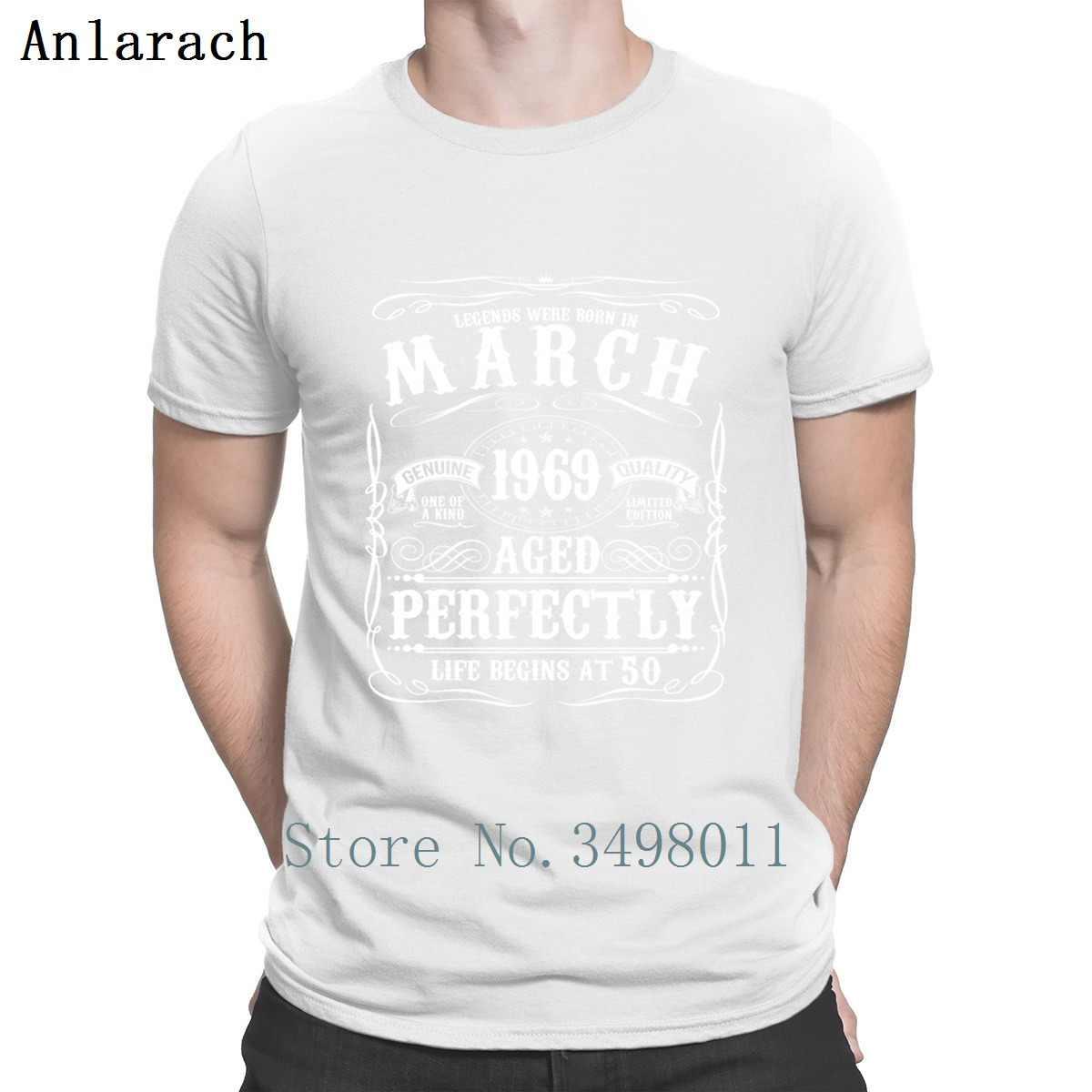 ba003efb ... Funny March 50th Birthday Apparel Born 1969 T Shirt Printing 100%  Cotton Crew Neck Standard ...