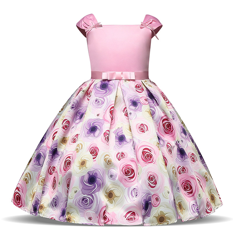 Flower Girls Baby Girl Clothing Communion Print Floral Dress for Girl 8 Years Children Costume Party Elegant Wedding Prom Gown high waist floral print elegant ball gown midi skirt for women