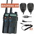 Par walkie talkie baofeng uv-8hx, rádio vhf uhf, 50 km irmã gt-3 baofeng uv-5r 8 w gt-3tp uv 5r vx-6r + cabo + sp + carregador de carro