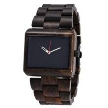 رجل الساعات الخشبية 2018 الفاخرة العلامة التجارية خمر الطبيعي الخشب الرجال ساعة مربعة التناظرية الكوارتز ساعة اليد الخيزران ساعة خشب الرجال