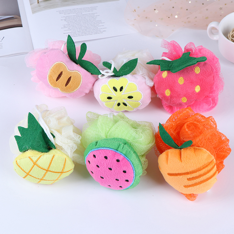 Cotton Soft Baby Bath Brush Cartoon Baby Bath Sponge Powder Puff Cute Children Newbron Infant Shower Product Rubbing Towel Balls
