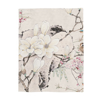 Japanese Printed Blanket Chinese Painting Style Magpies on The Branches of Cherry Blossoms and Jasmine Blossoms Call White