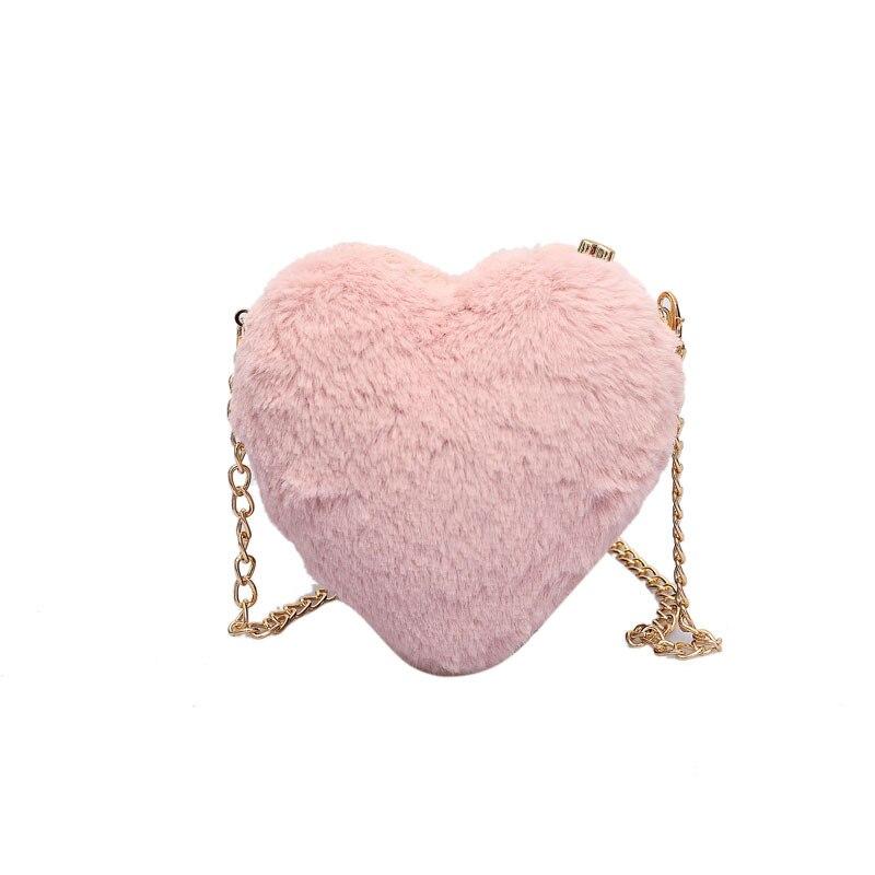 Girls Love Hair Clip Shoulder Crossbody Bag Heart Party Cute Chain Women Bag Handbag Pink Bolsa Mensageiro