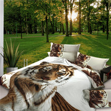 3D Tiger Bedding Set King Size Spring Bed Linen/ Sheet (1pcs Quilt +1pcs Sheet+Pillow covers 2 Pcs) set