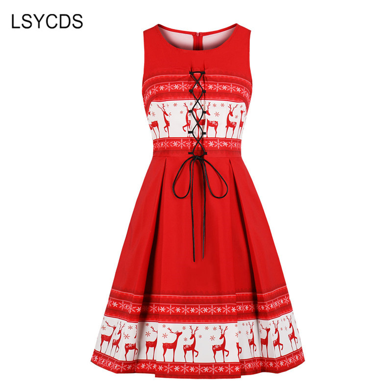 LSYCDS New Christmas Dress Women Elk Print Slim Plus Size S-4XL Women's Dresses Casual Party Club Elegant Red Retro Dresses