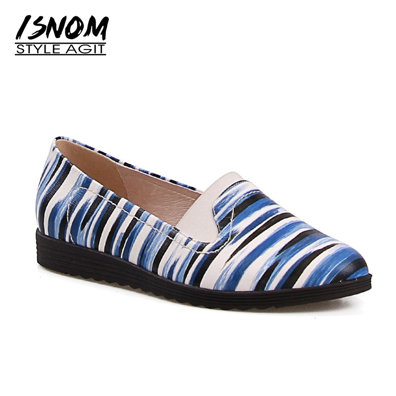 Bleu Plat Mode Chaussures Casual Véritable Rond Sole Dames D'impression Femme Cuir Bout Automne Appartements En Femmes Isnom 1qOwa0w