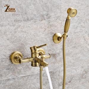 Image 2 - ZGRK Shower Faucets Brass Golden Wall Mounted Rainfall Bathroom Faucet Big Round Shower Head Handheld Bathtub Mixer Tap Set