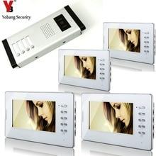 YobangSecurity White 7 Inches Color Wired Video Doorbell Door Chime,Rainproof Door Phone For 4 Units Villa Apartment Intercom