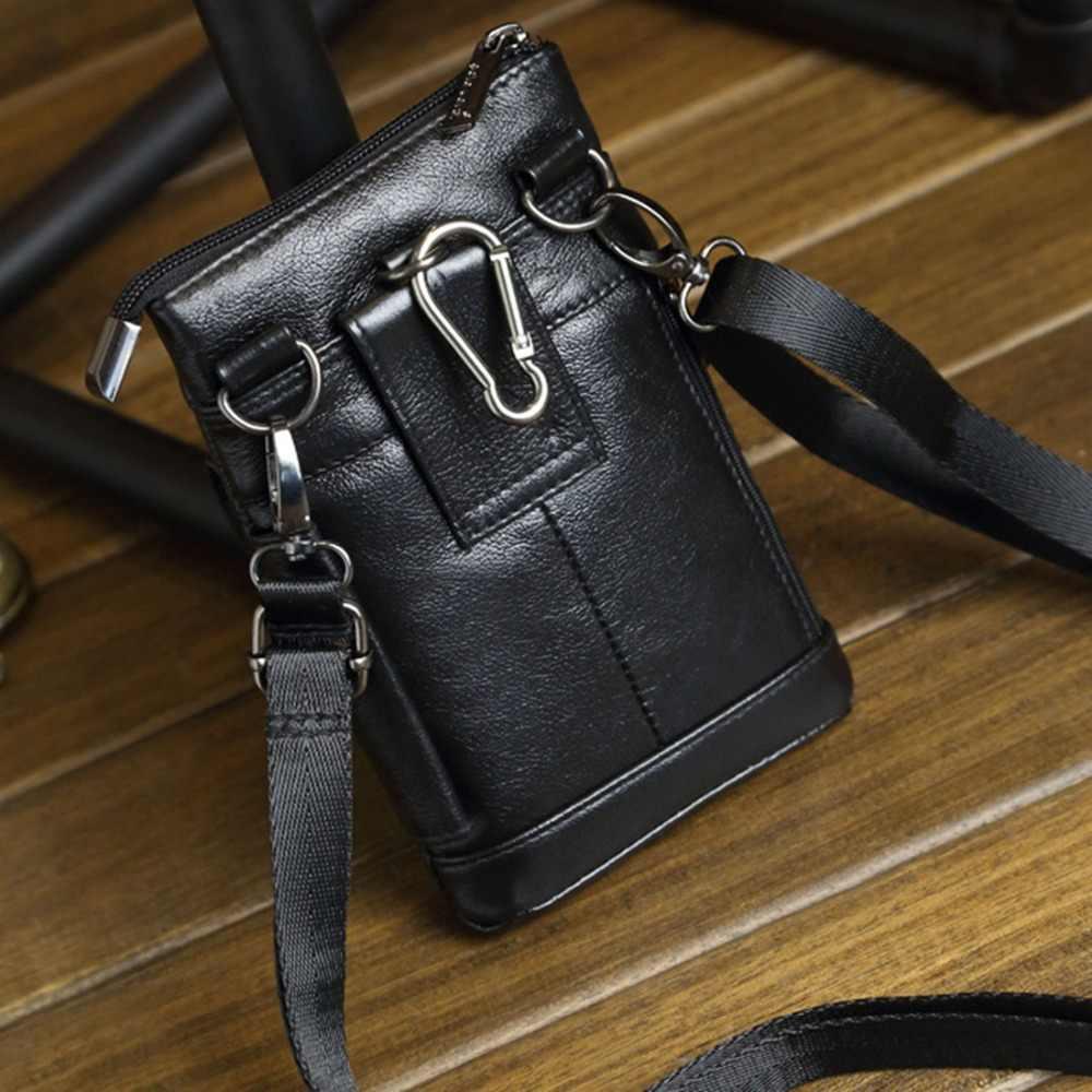 100% 天然皮革片方の肩ミニメッセンジャーファニーバッグ男性の携帯電話ケース財布男性リアル牛革フックベルトパックウエストバッグ