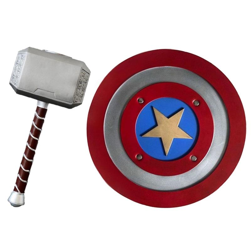 Endgame Avengers Captain America Shield Cosplay Mask Steve Rogers Thor Hammer Weapon Unisex Halloween Thor Stormbreaker Axe
