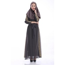 Women Jilbab Chiffon Muslim Long Sleeve Party Dresses Islamic Kaftan Jilbab Maxi Arab Clothes New