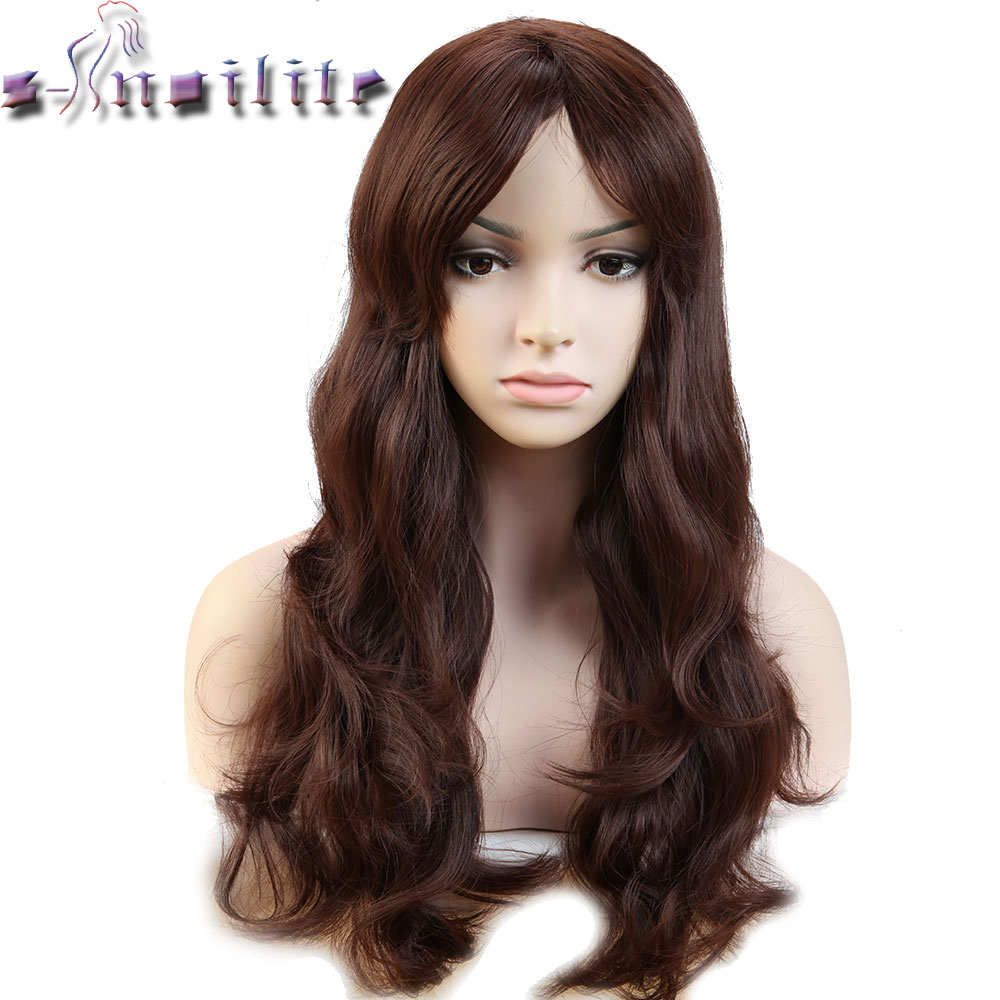 S-noilite 18inches Glueless Long Wavy Synthetic Non Lace Front Wig Heat Resistant Natural Hairline Hair Wigs For Women