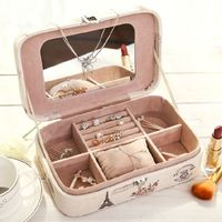 Women Lovely Little Princess European Leather Jewelry Box With Lock Mirror Birthday Gift Ladies Cosmetic Bag Fashion Makeup Bag