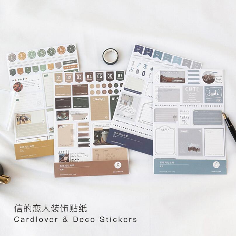 2 Pcs/set Basic Series Week Number Index Sticker Calendar Sticker Decorative Paper Sticker School Office Supplies Stationery