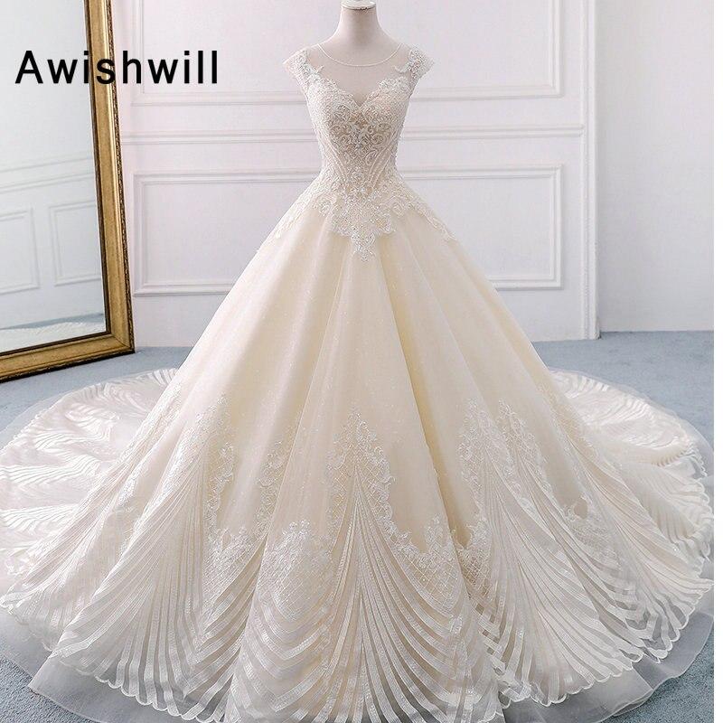 Vraie Image Élégante Perlée A-ligne Robes de Mariée Dos Ouvert Cap Manches Appliques Princesse Robe de Mariée Robe de Noiva