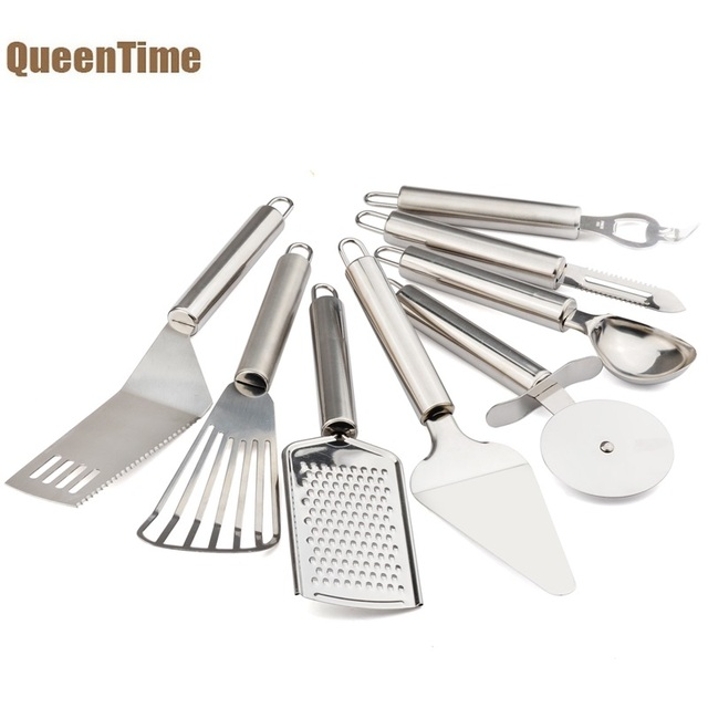 kitchen utensil sets glass round table queentime utensils set 8pcs stainless steel fruit peeler pizza knife cooking spatula gadgets