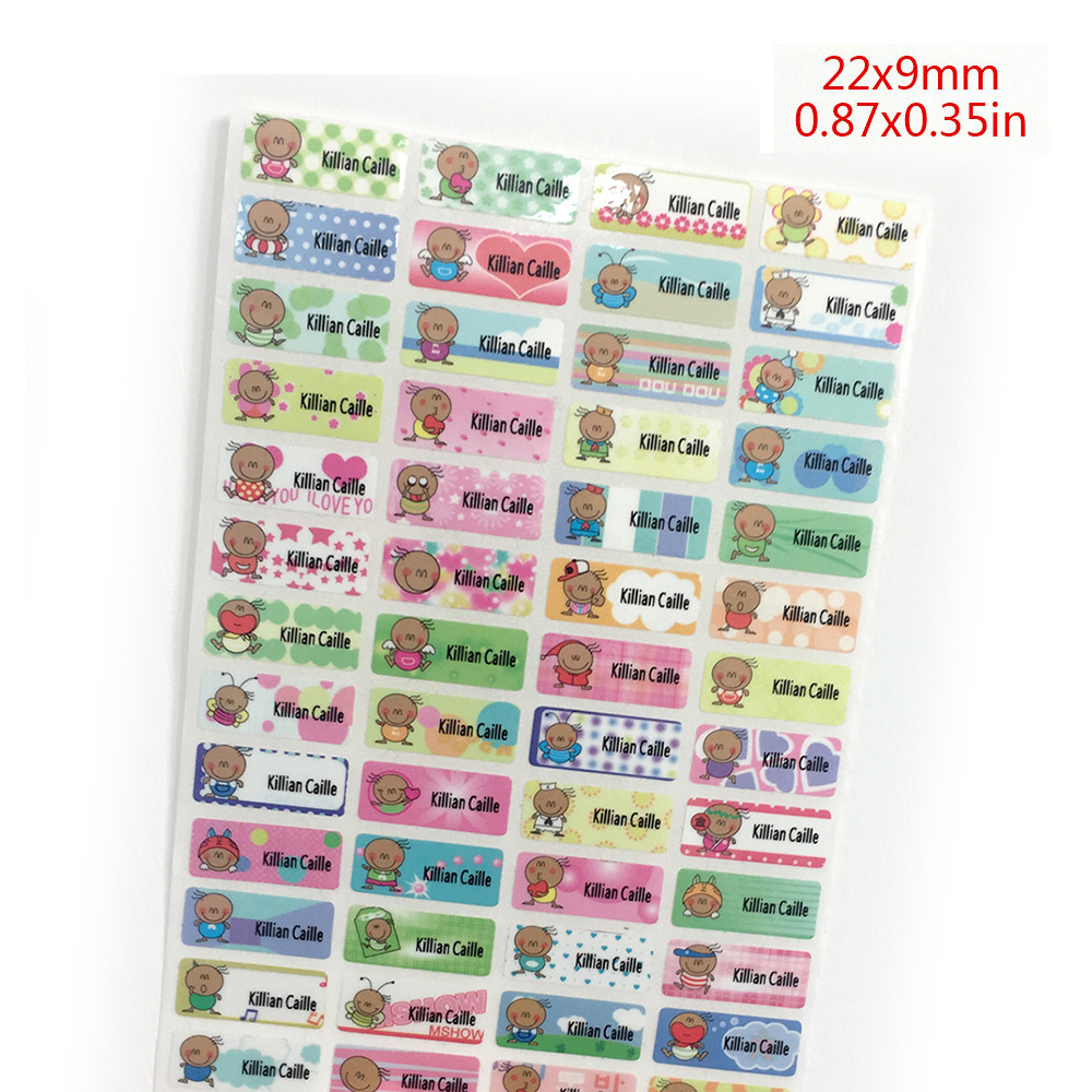 100Pcs Cute Bean Boy Name Stickers Waterproof Personal Tags Customize Labels For Children Daycare Scrapbooking School Stationery