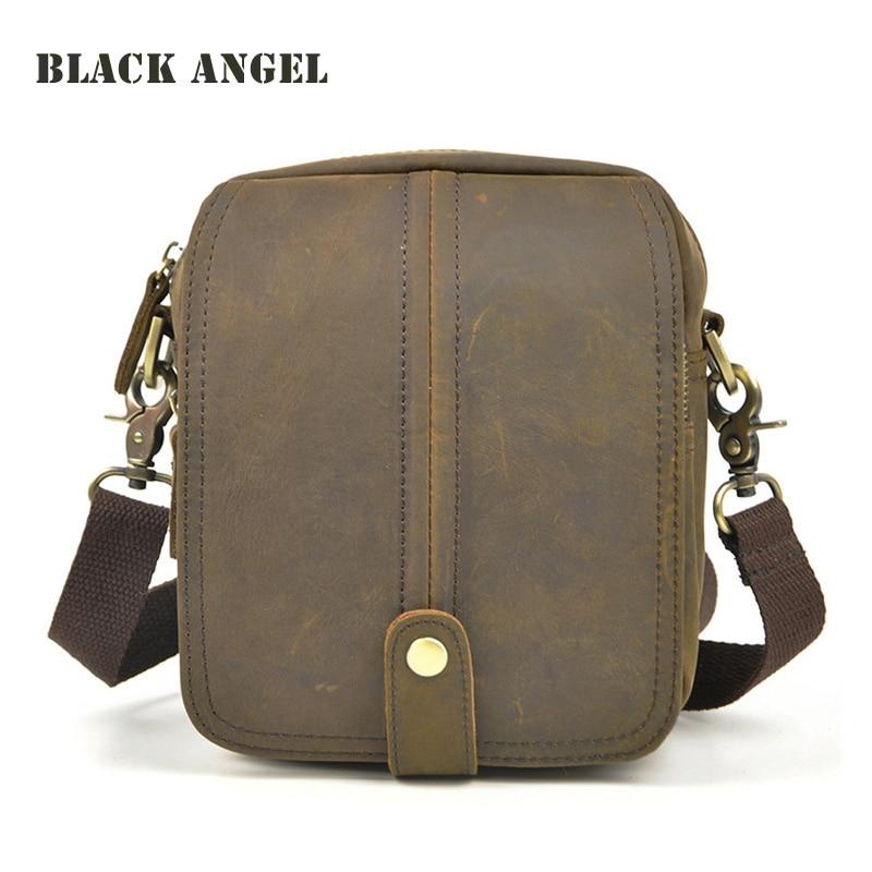 ФОТО Vintage genuine Leather cowhide small men messenger bag casual waist pack bag 8