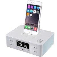 Nova Docking Orador NFC Bluetooth Display LCD Digital FM Rádio Relógio Alarme Duplo Jogar Estação de Carga Doca Speaker