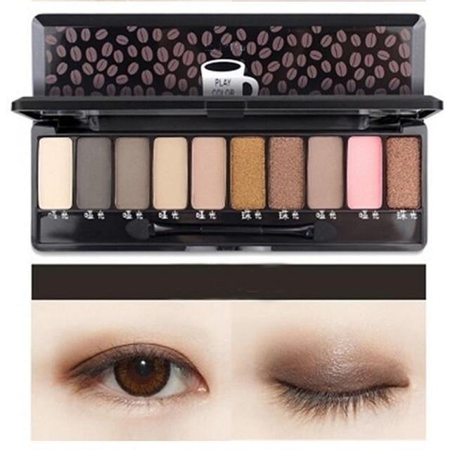 Moda maquillaje desnudo sombra de ojos brillo paleta mate maquillaje Natural luz 10 colores tierra sombra de ojos cosméticos Set con pincel