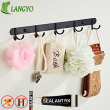 купить Solid Stainless steel Black Electroplating Finish Bathroom Towel Hook Wall Hook Door Hanger Clothes Robe Hook Multi-function дешево