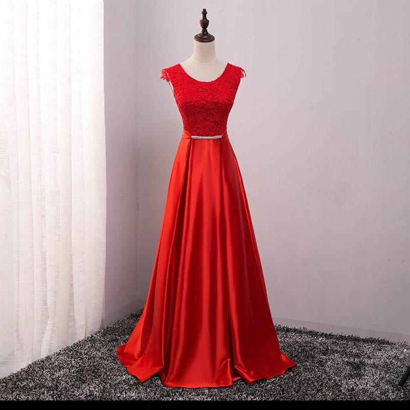 Элегантное вечернее платье с длинным аппликации платье для банкета, вечеринки Потрясающие сатиновое платье для выпускного вечера; Robe De Soiree vestido de festa - Цвет: Красный