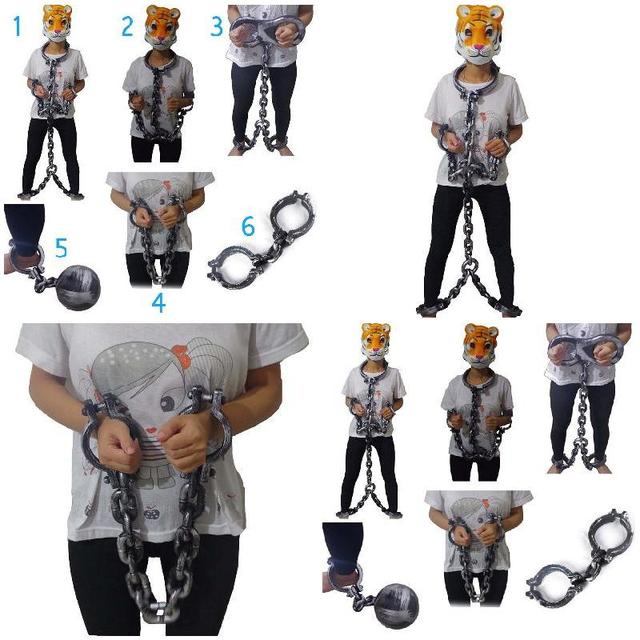 Halloween Handcuffs Fetters Shackle Body Chain Plastic Terror Night Decor Halloween Party Cosplay Prisoner Props Trick Toys XH8Z
