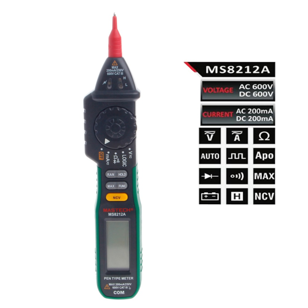 MS8212A Pen Digital Multimeter Voltage Current Tester Diode Logic Non-contact New  цены