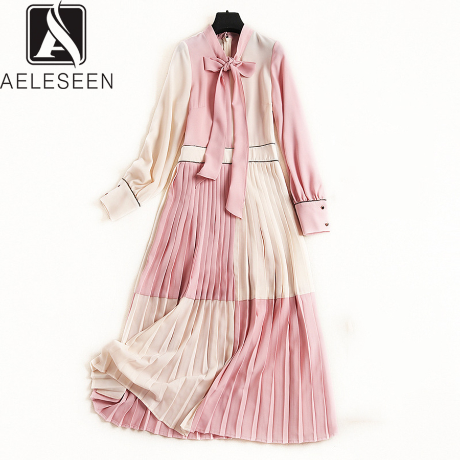 AELESEEN Boho Summer Dress 2019 Women Full Sleeve Luxury Patchwork Bow Elegant Pleated Gradient Dress Fashion For Women-in Dresses from Women's Clothing    1