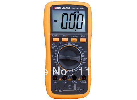 Digital Multimeter/Victor/VC9808+ 3/4 Auto Range Temperature Test Streamline Design & Large LCD Display digital multimeter victor vc 6056d3 4 auto range temperature test streamline design