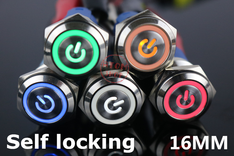 1pcs 16 Mm Self Locking And Self Reset Metal Button With