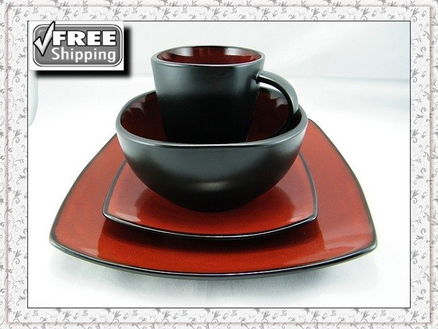 16pcs/lot High quality Porcelain RED-BLACK DINNERWARE 4  sc 1 st  AliExpress.com & EXPRESS Free shipping! 16pcs/lot High quality Porcelain RED BLACK ...