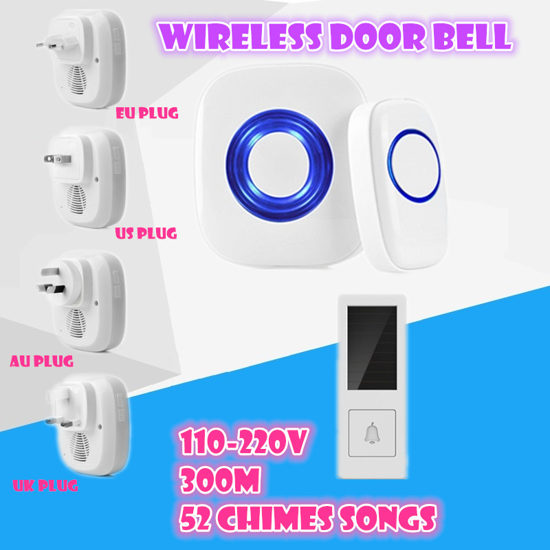 Wireless Doorbell Waterproof button elderly pager 1 transmitter+1 receiver AC 110-220V 300M remote control Digital door ring wireless pager system 433 92mhz wireless restaurant table buzzer with monitor and watch receiver 3 display 42 call button