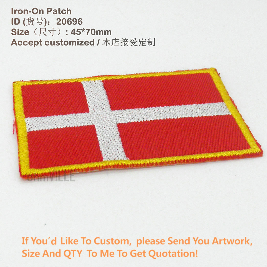 New Denmark Flag Iron on Patch for Clothing Appliques 3D Embroidery parches Eco-Friendly Embroidered Patches brand Handmade image