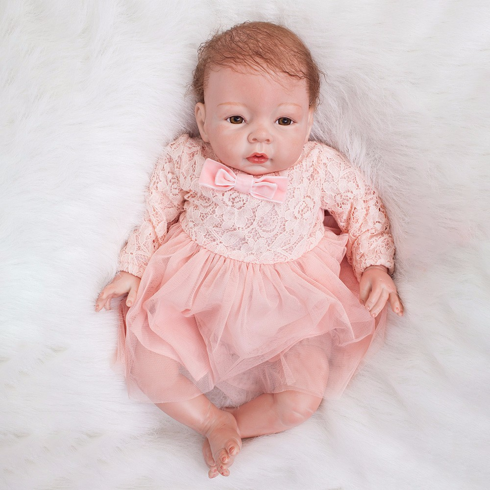 Image 3 - 22 inch Reborn Dolls Little Princess Silicone Baby Realistic Doll Kids Playmates Pink Dress Lifelike Bebe Newborn Dolls 55cm-in Dolls from Toys & Hobbies