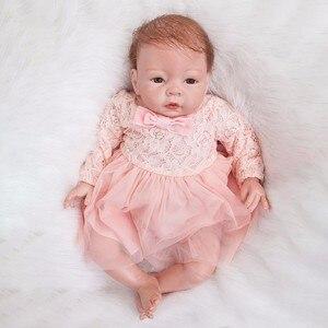 Image 4 - Reborn Baby Poppen 22 Inch Prinsesje Silicone Baby Realistische Pop Kid Speelgoed Roze Jurk Levensechte 55Cm Bebe Reborn pasgeboren Pop