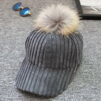 ChamsGend 2017 Hot Sale Popular Women Men Unisex Baseball Cap Snapback Hats Faux Fur Ball Winter