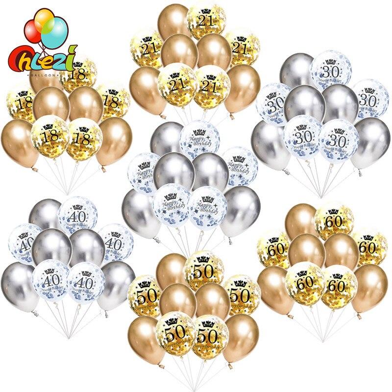 10 stücke 12 zoll Super Chrome Metallic Latex Ballons + Geburtstag Konfetti Ballon 18 30 40 50 60th Anniversary Hochzeit party Dekoration