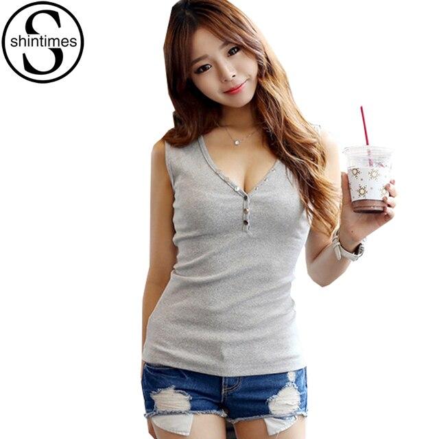 Sexy Deep V-Neck Tshirt 2018 New Fashion Women T Shirt Summer Tops Femme  Slim Sleeveless Button Cotton T-Shirt Womens Clothing 122089d456