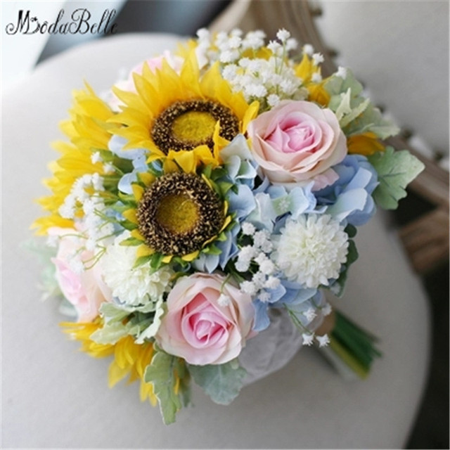 Modabelle 2017 sunflower wedding bouquet yellow pink artificial modabelle 2017 sunflower wedding bouquet yellow pink artificial bridal bouquet lace brides brooch bouquets accessoire mariage junglespirit Images