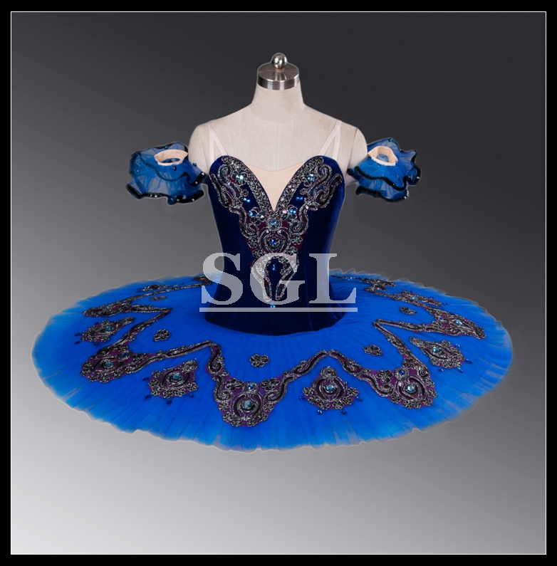 Free Shipping Blue Tutu Child Professional Adult Ballet Tutus Stage Dance Wear For Performance Or Competition AT1052B