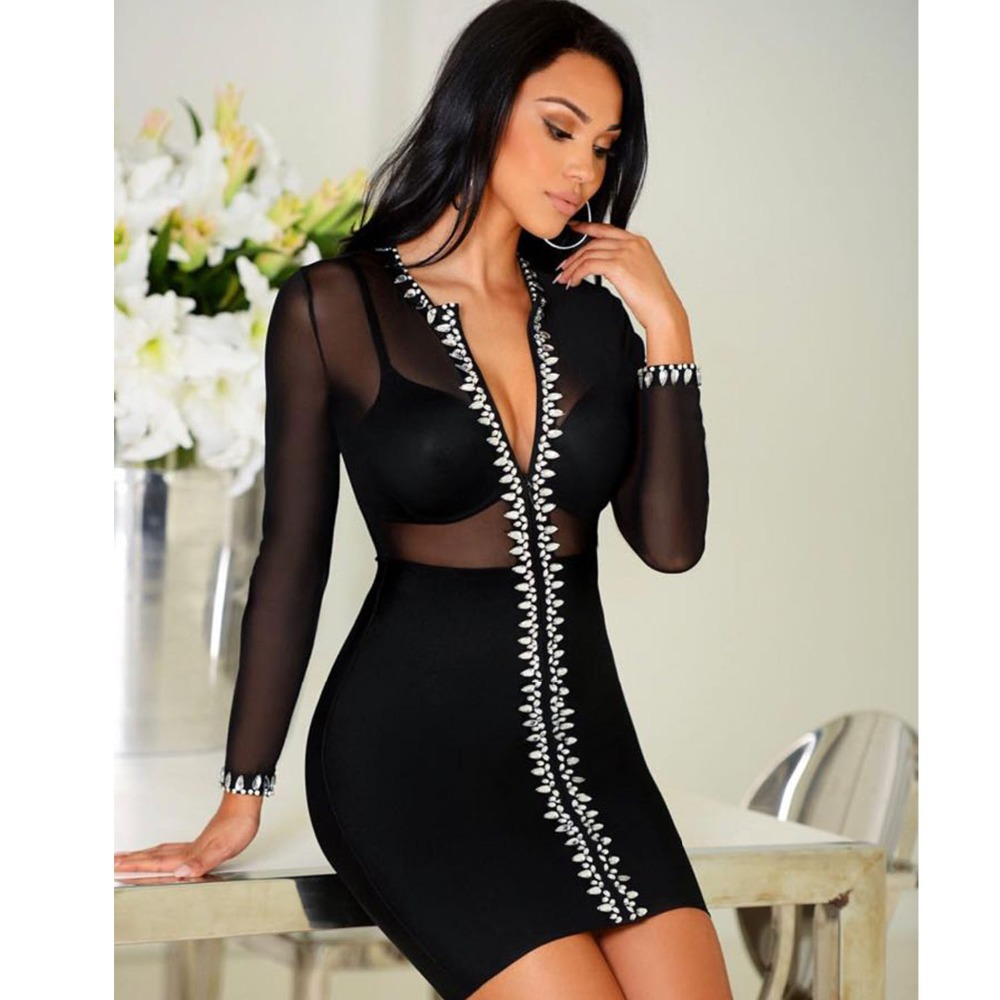 89fdabaa484 Maille Femmes Corps Robe See Robes Spéciale Celebrity Gros Party Night  Bandage through Offre V cou Diamants Club En Sexy Con Mode wI4x1q