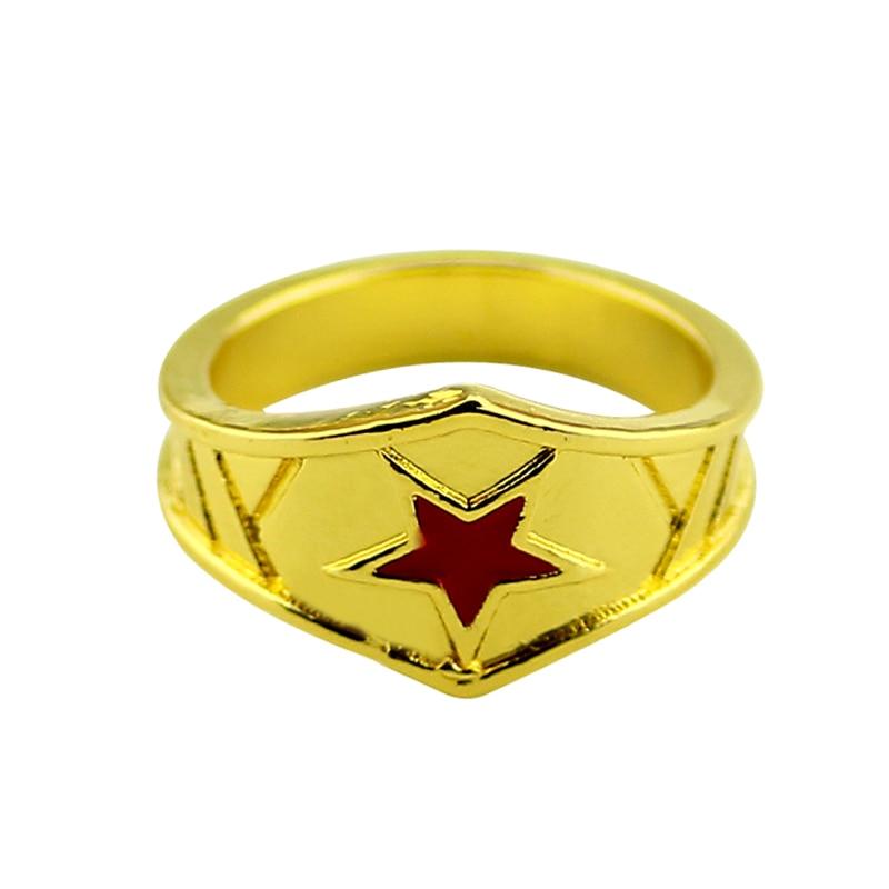 Wonder Woman Tiara Ring with Red Star Super Hero Wonder Woman Geek Engagement Ring,Girl Power Ring Movie Cosplay Jewelry