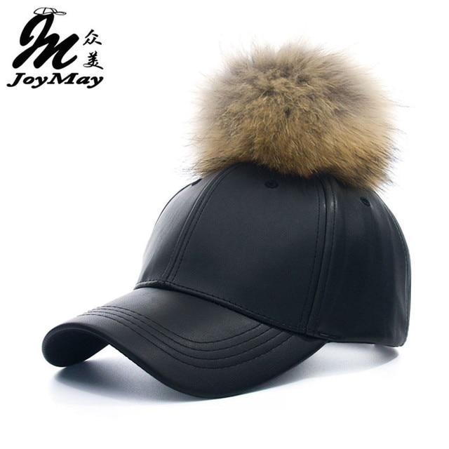 2016 New real fur pom pom cap for women Spring candy color PU baseball cap with real fur pom poms brand new female cap B310