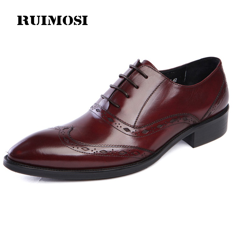 RUIMOSI Stylish Man Wing Tip Brogue Shoes Genuine Leather Bridal Oxfords Pointed Breathable Men's Dress Flats For Wedding DK39