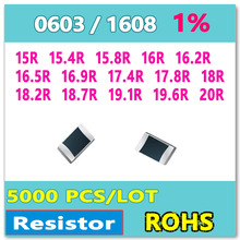 16R ОМ 0603 F 1% 5000 шт. 15R 15.4R 15.8R 16.2R 16.5R 16.9R 17.4R 17.8R 18R 18.2R 18.7R 19.1R 19.6R 20R smd 1608 резистор